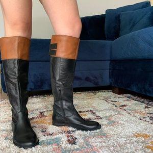 fe2a623ecefd Steve Madden Black/Cognac Riding Boots, Size 7.5